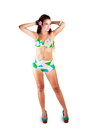 Attractive young woman with swimwear over white clipping path Stock Image