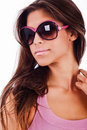 Attractive young woman wearing sunglasses Royalty Free Stock Photos
