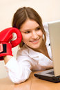 Attractive young woman at work place Royalty Free Stock Photo