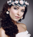 Attractiveness perfection fascinating cutie wearing wreath of flowers attractive perfect young woman in Stock Images