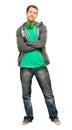 Attraktiver junger mann tragender hoodie lächelnder whit hintergrundhafen Stockbilder