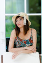 Attrative Asian woman relaxing Stock Image