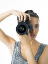 Attrative photographer woman with camera could be a tourist or a proffesional Royalty Free Stock Photo