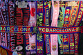 Attributes of FC Barcelona. Football club scarfs Royalty Free Stock Photo