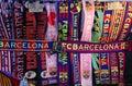 Attributes of FC Barcelona. Football club scarfs Royalty Free Stock Photo
