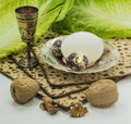 Attributes of jewish passover seder celebration is one the main celebrations Stock Images
