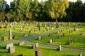Atumn on norwegian cemetery norway old protestant near church sanidal cmentary i kragero in vilage telemark fylke kragero kommune Royalty Free Stock Photos