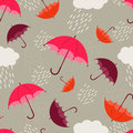 Atumn rain umbrellas and autumn seamless pattern Royalty Free Stock Photo