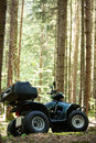 ATV's parked in the parking lot in the forest. good weather. Royalty Free Stock Photo