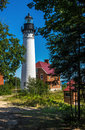 Au Sable Point Light at Pictured Rocks National Lakeshore near G Royalty Free Stock Photo