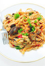 Aubergine with pasta Royalty Free Stock Photos