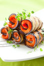 Aubergine rolls Stock Photography