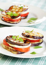 Aubergine towers with mozzarella and tomato Royalty Free Stock Photo