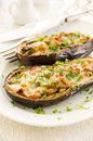 Aubergine with vegetables baked with cheese Stock Photo