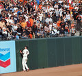 Aubrey Huff presses into wall as homerun is hit Stock Photo