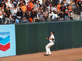Aubrey Huff Watches a home run fly over his head Royalty Free Stock Images
