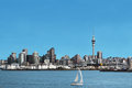 Auckland city skyline and harbour with skytower in new zealand cities cbd showing copyspace Royalty Free Stock Image