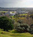 Auckland City Vertical Panorama on a Stormy Winter Day Royalty Free Stock Photo
