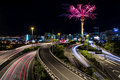 Auckland sky tower and spaghetti junction auckland new zealand a spectacular fireworks display off the to celebrate chinese year Royalty Free Stock Photos