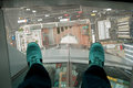 Auckland Sky Tower view of street bottom glass of shoes in New Zealand. Royalty Free Stock Photo