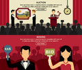 Auction and bidding banners set horizontal with people picture flat vector illustration Stock Photos