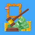 Auction and bidding concept vector illustration in flat style design. Selling arts Royalty Free Stock Photo