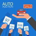 Auction and bidding concept vector illustration in flat style design. Selling car Royalty Free Stock Photo