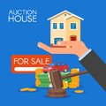 Auction and bidding concept vector illustration in flat style design. Selling house Royalty Free Stock Photo