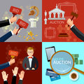 Auction and bidding set flat vector illustration Royalty Free Stock Photo