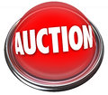 Auction button flashing light item sale highest bidder a round red in metal and reading to advertise an for to the Stock Photography