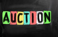 Auction concept handwritten with chalk on a blackboard Stock Photos