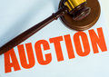 Auction Sign And Mallet On A W...
