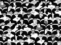 Audience group people sitting black and white seamless pattern Royalty Free Stock Photo