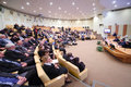 Audience and participant of conference moscow october at presentation olympic winter games sochi fifa world cup in russian Stock Photography