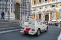 The audience for the speech of Pope Francis ans his pope Mobil. Royalty Free Stock Photo