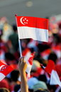 Audience waving Singapore flag during NDP 2009 Stock Image