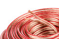 Audio cable copper on white background Stock Images