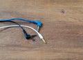 Audio cables mini plug Royalty Free Stock Photo