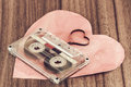 Audio cassette close up of with heart Royalty Free Stock Photography