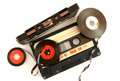 Audio cassette and tape composition high resolution color image Stock Photos