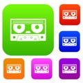 Audio cassette tape set color collection