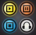 Audio icons guziki Zdjęcie Royalty Free