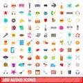 100 audio icons set, cartoon style