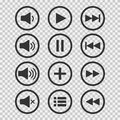 Audio icons. Sound buttons. Play button. Pause sign. Symbol for web or app. Vector illustration. Royalty Free Stock Photo