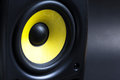 Audio loud speaker on black background close up Royalty Free Stock Photo