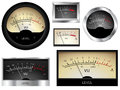 Audio meters vector vu different colors and styles Stock Images