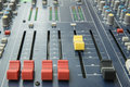 Audio mixer mixing board fader and knobs Royalty Free Stock Photo