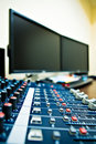 Audio mixer and PC Royalty Free Stock Photo