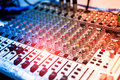 An Audio mixing table in soft light Royalty Free Stock Photo