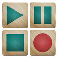 Audio set new of wooden icons can use like buttons for modern multimedia interface Stock Photo